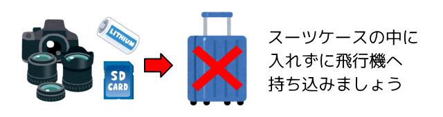 カメラやレンズ電池はスーツケースの中に入れない